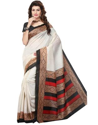 GiftPiper Cotton Silk Printed Saree-Black & Beige-1