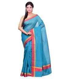Buy Green woven banarasi cotton saree with blouse banarasi-saree online