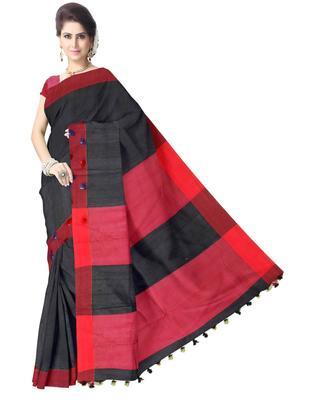 GiftPiper Bengal Handloom Cotton Saree- Black & Red