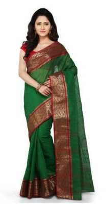 GiftPiper Bengali Tant Saree- Green & Red