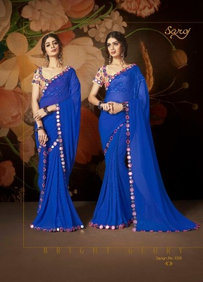 Blue embroidered nazneen saree with blouse