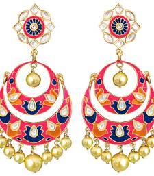 Buy Kundan meenakari antique double layer big bali danglers Earring online