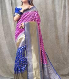 Buy blue woven kanchipuram silk saree with blouse kanchipuram-silk-saree online
