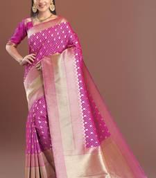 Buy pink woven kanchipuram silk saree with blouse kanchipuram-silk-saree online