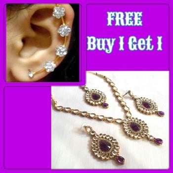 Buy 1 Get 1 Free Purple Kumdan Necklace Set
