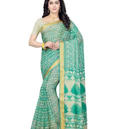 Buy Beige printed blended cotton saree with blouse cotton-saree online