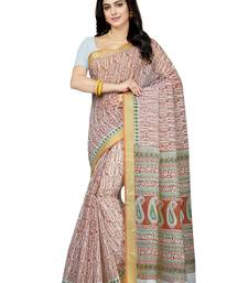 Buy Off white printed blended cotton saree with blouse cotton-saree online