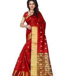 Buy Red printed banarasi silk saree with blouse south-indian-saree online