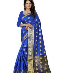 Buy Blue printed banarasi silk saree with blouse south-indian-saree online