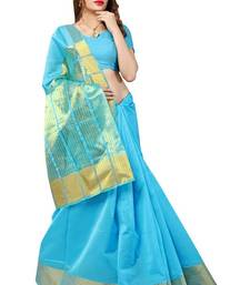 Buy Blue printed cotton silk saree with blouse south-indian-saree online