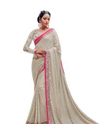 Buy Cream embroidered georgette saree with blouse bridal-saree online