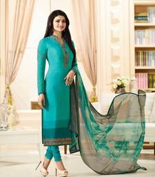Buy Cyan embroidered Crepe semi stitched salwar with dupatta semi-stitched-salwar-suit online