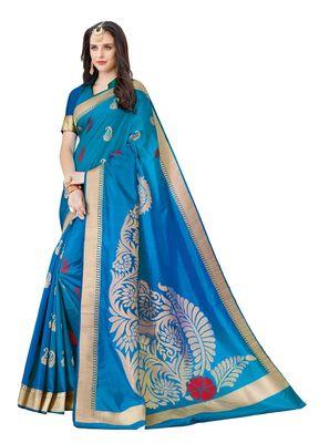 Blue printed patola saree with blouse