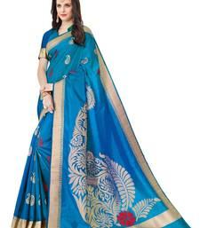 Buy Blue printed patola saree with blouse patola-sari online