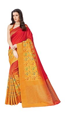Red printed patola saree with blouse
