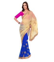 Buy Beige Dyed Poly Chiffon saree with blouse party-wear-saree online