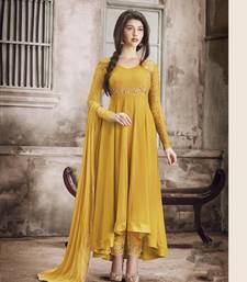 Buy Mustard embroidered georgette salwar party-wear-salwar-kameez online