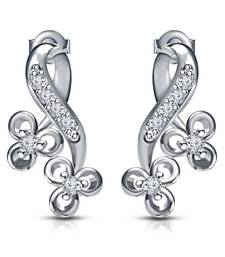 Buy Platinum Plated 925 Sterling Silver Round Cut White CZ Infinity Shape Flower Stud Earrings stud online