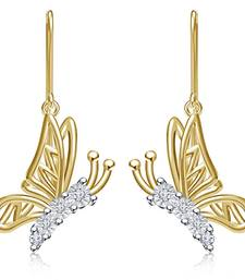 Buy  14k Gold Plated Sim Diamond Daily Use Beautiful Butterfly Earrings stud online