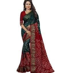 Buy Green printed art silk saree with blouse bandhani-sarees-bandhej online