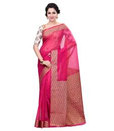 Buy Rani pink woven blended cotton saree with blouse hand-woven-saree online