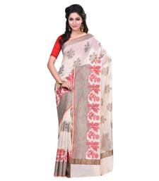 Buy Cream woven blended cotton saree with blouse hand-woven-saree online