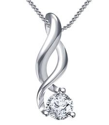 Buy Infinity Pendant & Chain Round CZ 925 Sterling Silver Platinum Plated For Girls & Womens With Exclusive Offer Pendant online