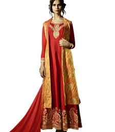 Buy Red embroidered art silk semi stitched salwar with dupatta semi-stitched-salwar-suit online