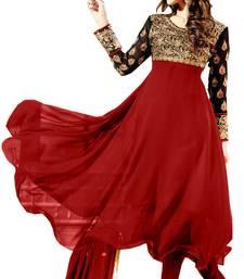 Buy Styles Closet Maroon And Black Designer Frock Style Anarkali Suit eid-special-salwar-kameez online