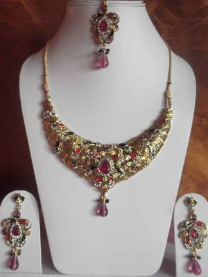 meenakari work bridal necklace with maang tika and matching earrings