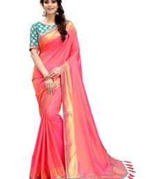 Buy Coral plain silk saree with blouse wedding-saree online