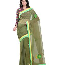 Buy Green embroidered super net saree with blouse supernet-saree online