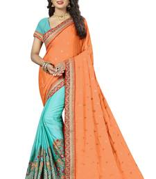 Buy Aqua blue embroidered silk blend saree with blouse south-indian-saree online