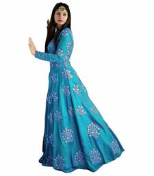 Buy turquoise tafeta embroidered semi stitiched party wear gowns party-wear-gown online