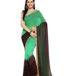 Buy Green printed georgette saree with blouse printed-saree online
