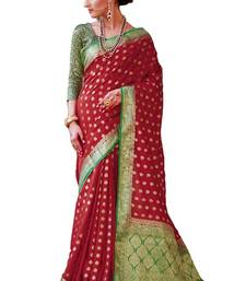 Buy Maroon woven nylon saree with blouse hand-woven-saree online