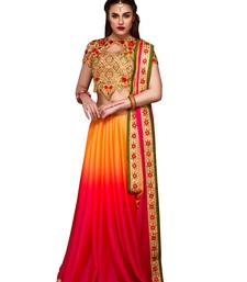 Buy multicolor embroidered chiffon saree with blouse party-wear-saree online