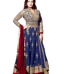 Buy NAVY BLUE, MAROON & BEIGE NET EMBROIDERED SEMI-STITCHED ANARKALI SUIT semi-stitched-salwar-suit online