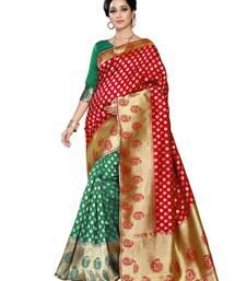 Buy Red  and  green printed banarasi silk saree with blouse party-wear-saree online