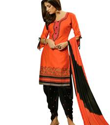 Buy Orange resham_embroidery blended_cotton unstitched salwar with dupatta dress-material online
