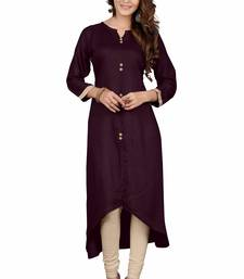 Buy Coffee color plain rayon stitched party wear kurtis  party-wear-kurtis online