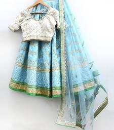 Buy Sky blue embroidered net unstitched lehenga with dupatta lehenga-choli online
