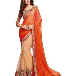Buy Beige embroidered silk blend saree with blouse south-indian-saree online