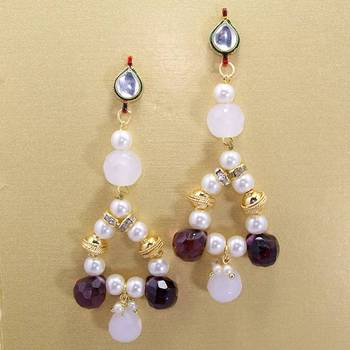 Pearl String Jhumars White Violet
