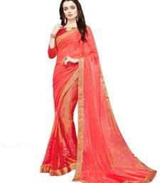 Buy Orange printed brasso saree with blouse brasso-saree online