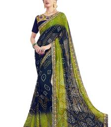 Buy Navy blue printed georgette saree with blouse wedding-saree online