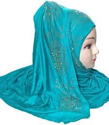 Buy Cyan diamond stone work hoisery cotton women's headscarf hijab online