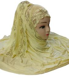 Buy Yellow diamond stone work hoisery cotton women's headscarf hijab online