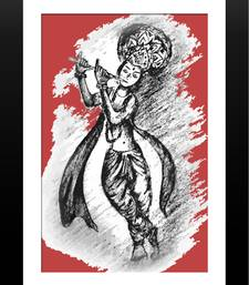 Buy Beautiful Krishna (Red) Painting painting online