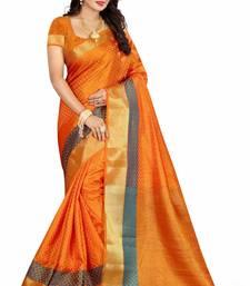 Buy Orange printed poly cotton saree with blouse bridal-saree online